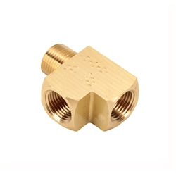 Air Suspension Brass Male Run Tee Fitting, 3/8 Inch NPT