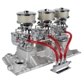 Three Chrome 9 Super 7   Carbs, 1957-86 Small Block Chevy Edelbrock Intake