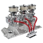 Three Chrome 9 Super 7® Carbs, 1957-86 Small Block Chevy Edelbrock Intake