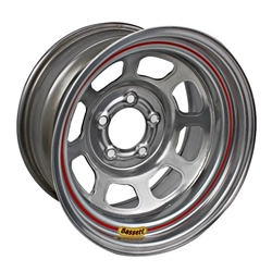 Garage Sale - Bassett 58D53S 15X8 D-Hole 5 on 5 3 Inch Backspace Silver Wheel