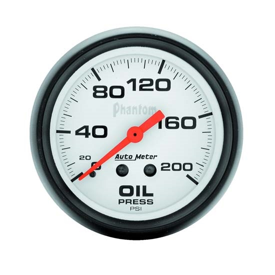 Auto Meter 5822 Phantom Mechanical Oil Pressure Gauge, 200 PSI, 2-5/8