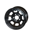 Bassett 57RN4L 15X7 Dot D-Hole 5 on 100mm 4 In BS Black Beadlock Wheel