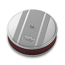 Holley 120-151 Round Polished Finned Air Cleaner, 3 In Reusable Filter