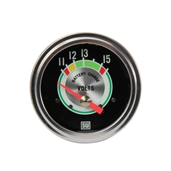 Stewart Warner 690TM Green Line Voltmeter Gauge, Electric, 2-5/8 Inch