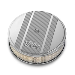 Holley 120-150 Round Polished Finned Air Cleaner, Paper Filter, 14 x 3