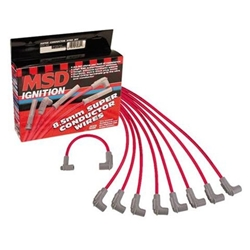 MSD 31599 8.5mm Spark Plug Wires Set, S/B Chevy, Socket, Under Headers