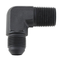 Black 90 Degree -4 AN Flare to 1/4 Inch NPT Pipe Adapter Fitting