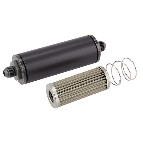 Black 6 Inch Aluminum High Flow Fuel Filter, Stainless Element