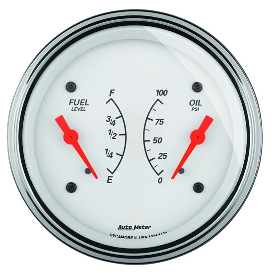 Auto Meter 1324 Arctic White Air-Core Dual Gauge