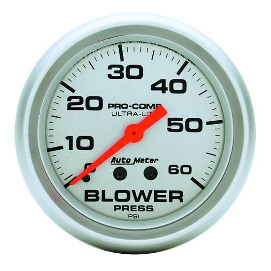 Auto Meter 4402 Ultra-Lite Mech Blower Pressure Gauge, 60 PSI, 2-5/8