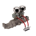 Two Plain 9 Super 7® Carbs on Offy Regular Intake Manifold, 1932-48 Ford V-8
