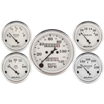 Auto Meter 1601 Old-Tyme White 5 Gauge Set, Mechanical Speedometer