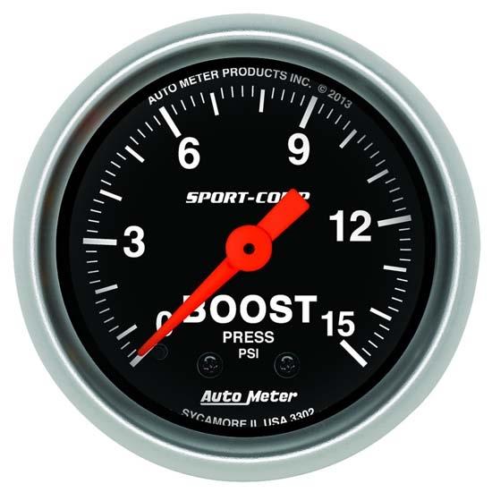 auto meter 3302 sport comp mechanical boost gauge 15 psi. Black Bedroom Furniture Sets. Home Design Ideas