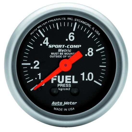 Auto Meter 3311-J Sport-Comp Mechanical Fuel Pressure Gauge