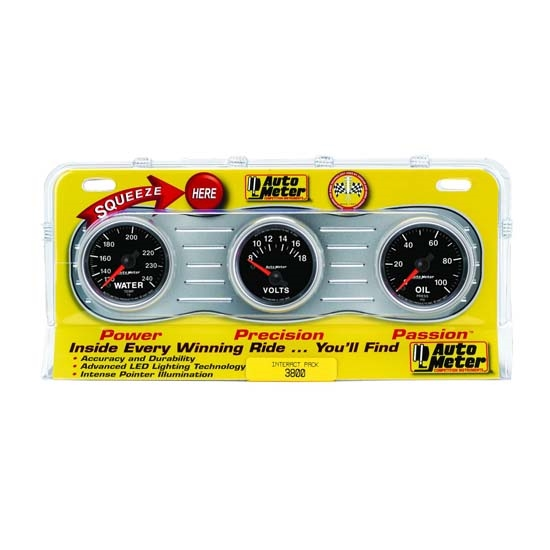 Auto Meter 3800 GS Interact Pack Mechanical Gauge Set, Oil/Water/Volt