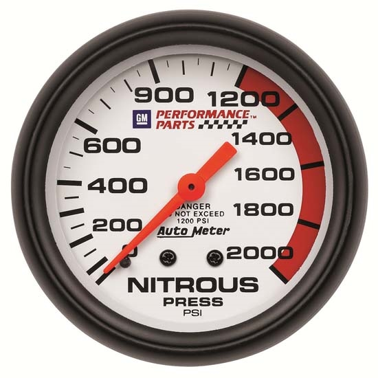 Auto Meter 5828-00407 GM White Mechanical Nitrous Pressure Gauge