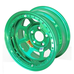 Aero 53-985020GRN 53 Series 15x8 Wheel, BL, 5 on 5 BP, 2 Inch BS IMCA