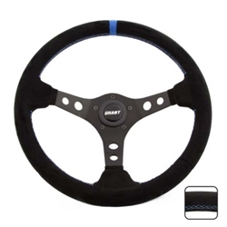 Grant 696 Suede Series Steering Wheel, 13-3/4 Inch, Black/Blue