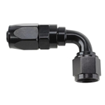 Speedway Full Flow Swivel Hose End Fitting, 90 Degree Angle, Black, -12 AN