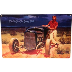 Tom Fritz Good For Young Bulls Tin Sign, 24 x 12 Inch