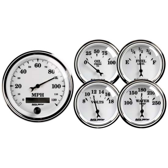 Auto Meter 1200 Old-Tyme White II 5 Piece Gauge Set, Electric