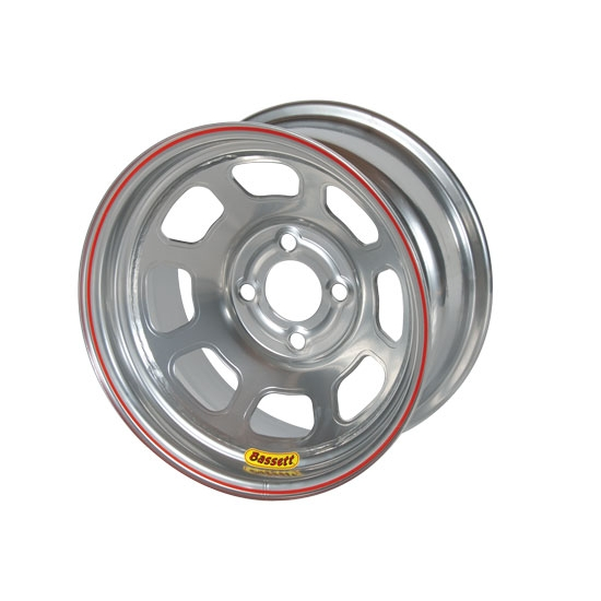 Bassett 48SH4S 14X8 D-Hole 4 on 100mm 4 Inch Backspace Silver Wheel