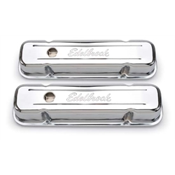 Edelbrock 4457 Signature Series Chrome Valve Cover Set, Pontiac V8