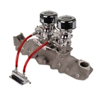 Chrome 9 Super 7® Carbs, Offy 1090 Regular Intake Manifold Kit, 32-48 Ford V-8