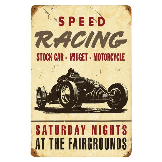 Speed Racing Vintage Tin Sign