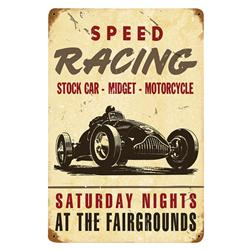 Speed Racing Vintage Metal Sign