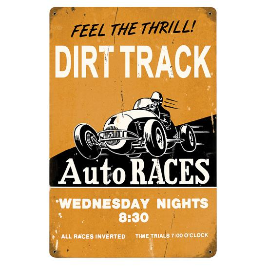 Dirt Track Vintage Metal Sign