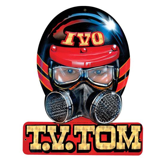 TV Tommy Ivo Helmet Vintage Tin Sign