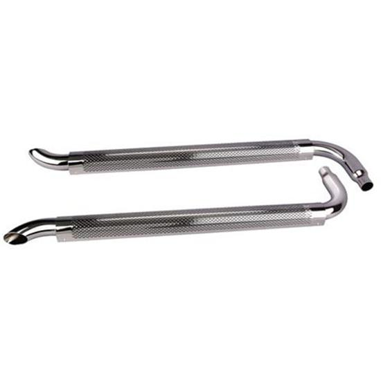 Chrome Side Exhaust Pipes w/ Mufflers, 60 Inch