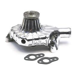 Small Block Chevy Polished Ribbed Aluminum Short Water Pump