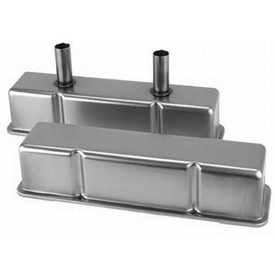 Speedway Chevy Tall Valve Covers w/ Breather Tubes, Plain Steel