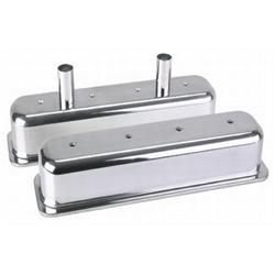 Small Block Chevy Tall Aluminum Centerbolt Valve Covers, Polished