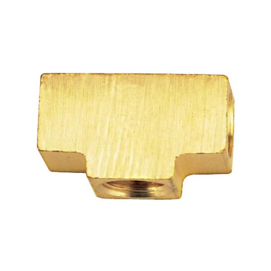 3/8 Inch-24 IFF Each End, 1/8 Inch NPT Female Center, Brass Adapter Tee