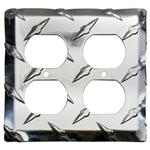 Garage Sale - Diamond Plate Dual Outlet Cover Plates