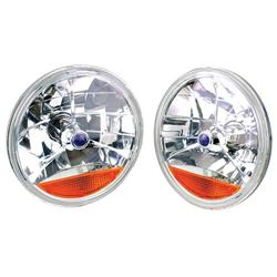 Speedway Tri-Bar Replacement Headlights w/ Amber Turn Signal Lens