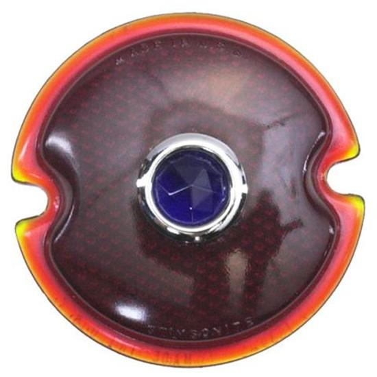 Ford 1933-1936 Car/1945-1952 Pickup Tail Light Lens, Blue Dot, Red Glass