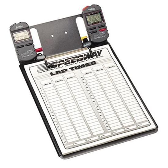 Clipboard with Two Robic SC-848W Stopwatches and Lap Sheets