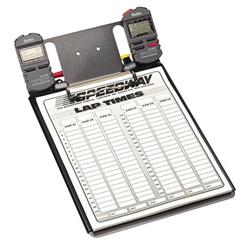 Clipboard with Two Robic SC-848 Stopwatches and Lap Sheets