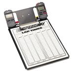 Clipboard with Robic SC-505 and SC-848 Stopwatches and Lap Sheets