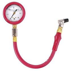 Safety Racing Red Liquid-Filled Tire Pressure Guage w/ Hose 0-30 PSI