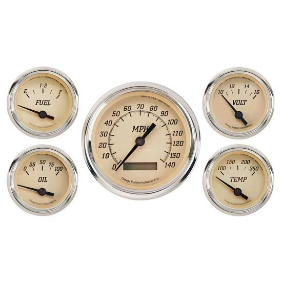 Omega Kustom 922053 5-Gauge Set, Electric Speedometer, 3-3/8, Tan