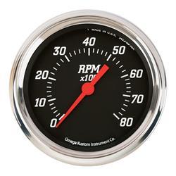 Omega Kustom 930233 8000 RPM Tachometer, 3-3/8, Black Face