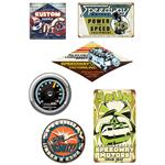 Speedway Vintage Tin Sign & Clock Set