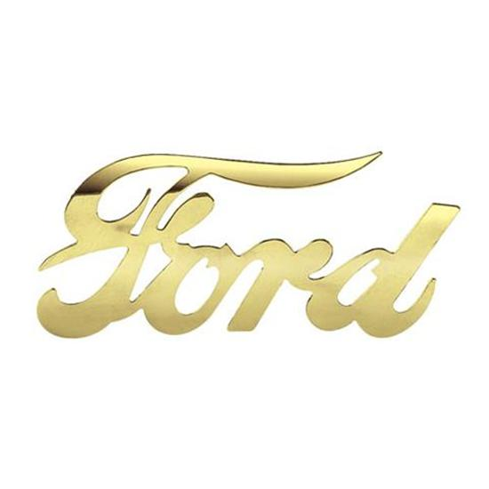 Ford Script Emblem, Polished Brass