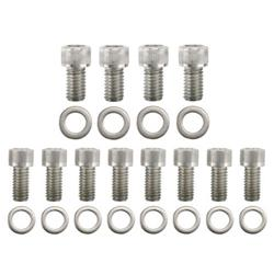 Stainless Steel Flathead Ford V8 Tube Header Bolts, Set/12