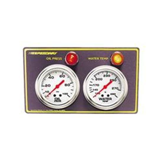 speedway 2 gauge panel w warning lights oil press water temp. Black Bedroom Furniture Sets. Home Design Ideas